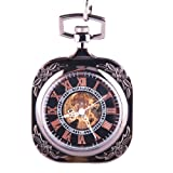 Black Skeleton Mechanical Movement Pocket Watch Hand Wind Roman Numerals Classic Open Face Square Shape Steampunk – PW-70, Watch Central