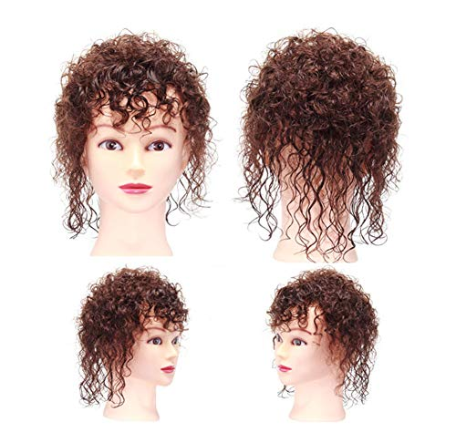 Women Hair Topper Human Hair with Bangs Wavy Curly Clip in Crown Wiglet Hairpieces for Thinning Hair (Curly Dark Brown)