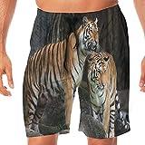 Haixia Mens Quick Dry Boardshorts Animal Decor Tiger Couple in The Jungle On Bi