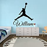 Wall Decals Personalized Name Basketball Decal Vinyl Sticker Window Nursery Bedroom Gym Interior Design Home Decor Hall Dorm Art Murals Ah55