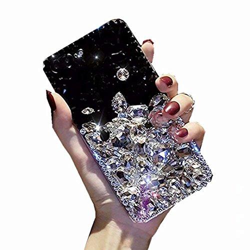 Alcatel Fierce 4 Case,Alcatel Allura Case,Alcatel Pop 4 Plus Full Crystal Diamond Case, 3D Handmade Luxury Sparkle Crystal Rhinestone Diamond Glitter Bling Clear TPU Case (Black/White)