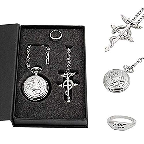 Powshop Fullmetal Alchemist Anime Pocket Watch with Necklace & Ring Anime Pocket Watches for Cosplay Gift