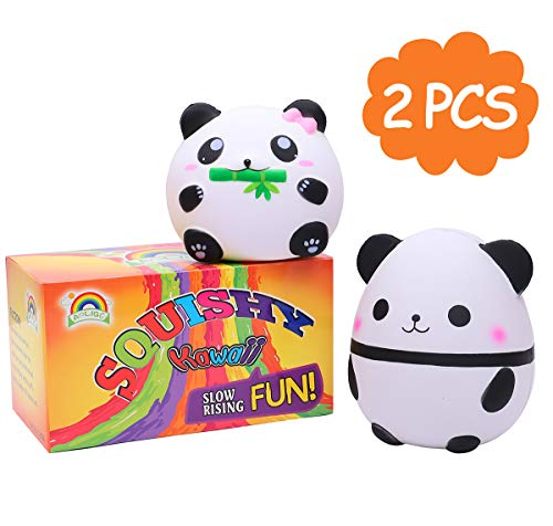 AOLIGE 2 PCs Squishies Slow Rising Jumbo Kawaii Cute Panda Creamy Scent Kids Party Toys Stress Reliever Toy]()