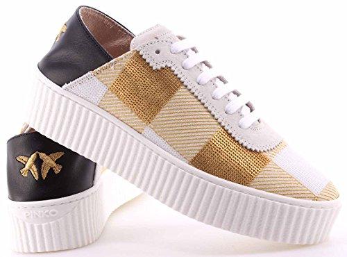 Shine Donna Ungherse Sneakers New Bianco Pinko Scarpe Baby Paillettes Oro Pelle qtPU77W