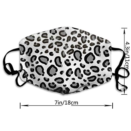 Face Masks, Breathable Dust Filter Masks Medical Mask Mouth Cover Masks with Elastic Ear Loop (Leopard Print Greyscale #1)