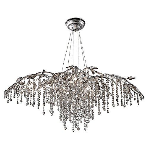 - Golden Lighting 9903-12 MSI Chandelier with Electroplated Smoke Leaded Crystal Shades, Mystic Silver Finish