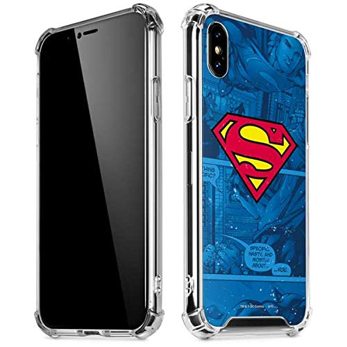 Skinit Superman Logo iPhone Xs Max Clear Case - Officially Licensed Warner Bros Phone Case Clear - Transparent iPhone Xs Max -