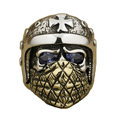 LINSION 925 Sterling Silver Motorcycle Helmet Skull Purple CZ Eyes Brass Mask Biker Ring TA28 (9.5)
