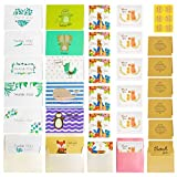 Thank You Cards Multipack - 30 pcs Folding & Postcard Kids Thank You Cards Kids Thank You Notes & Envelopes Blank Inside for Birthday Wedding Chrismas Party Invitations