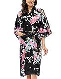 BELLOO Ladies Silk Satin Dressing Gown Long Kimono Robe, 12 Colors Size 8-22 UK