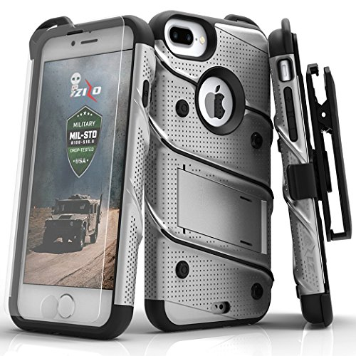 Zizo Bolt Series iPhone 8 Plus / 7 Plus Case - Tempered Glass Screen Protector with Holster and 12ft Military Grade Drop Tested (Gray & Black)