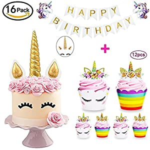 DaisyFormals Unicorn Cake Topper with 12x Cupcake Toppers Wrappers and Happy Birthday Banner + 2Pcs Unicorn Balloons,Unicorn Party Supplies for Girls Boys Birthday Party,Wedding,Baby Shower(16 Packs)