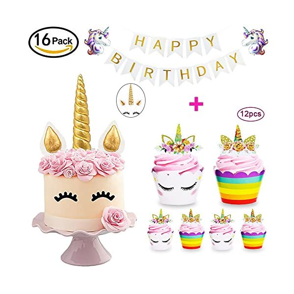 Daisyformals Unicorn Cake Topper with 12x Cupcake Toppers Wrappers and Happy Birthday Banner + 2Pcs Unicorn Balloons,Unicorn Party Supplies for Girls Boys Birthday Party Wedding Baby Shower(16 Packs) 3