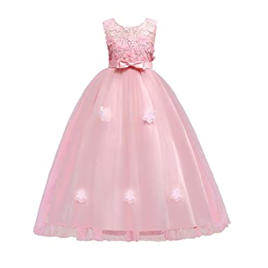 Domybest Children Girls Flower Princess Dress Wedding Party Prom Gown(Pink 5-6Y)