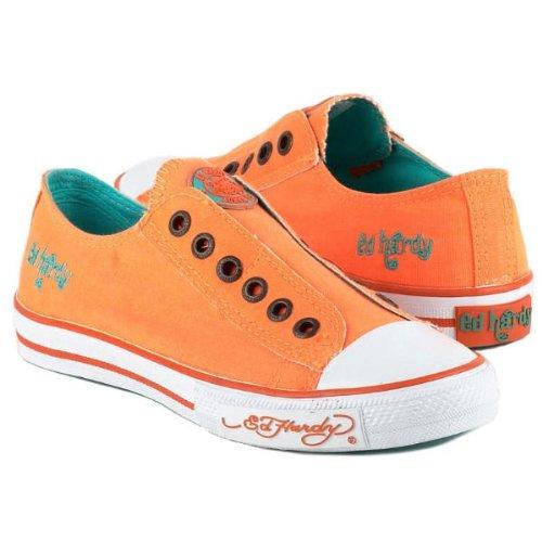 Ed Hardy LR NEON Womens Canvas Top Sneaker Shoes B00B61ZTTY 6 B(M) US|Neon Orange