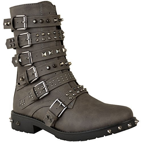 Fashion Thirsty Womens Ladies Studded Ankle Boots Buckle Western Biker Strappy Flat Shoes Size Khaki Green Grey Faux Leather