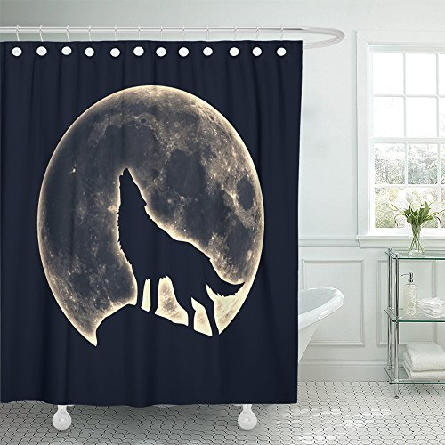 Emvency Shower Curtain Polyester 66x72 Inches Black Wicca Howling Wolf Full Moon Werewolf Native Silhouette Magic American Pagan Totem Mildew Resistant Waterproof Adjustable Hook (Spirit Halloween Opening Day)