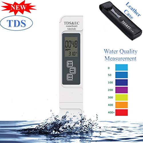 Digital TDS 3-in-1 EC&Temperature Meter Ideal Water Quality Tester,Accurate Professional Tester Kit with Leather Carrying Case,0-9999ppm,for Drink Water,Aquariums,Hydroponics,Ro System (with Battery)