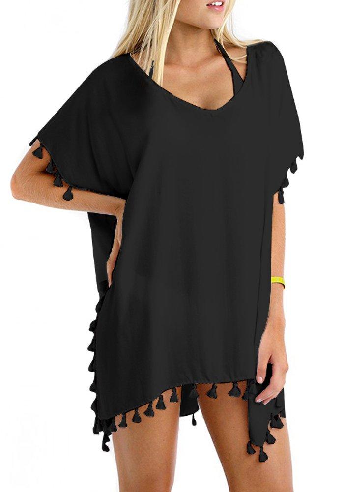 GDKEY Women Chiffon Tassel Swimsuit Bikini Stylish Beach Cover up(Black,A)
