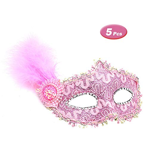 R STAR 5 Pcs Masquerade Mask for Women Venetian Masks Christmas Women Turkey Feather Hat Sparkling Masks Eye mask Cosplay Lace Mask(Pink)