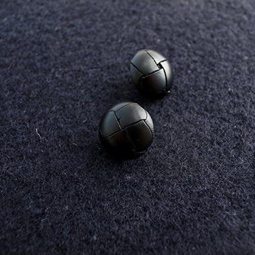 【バスケット型/革くるみ型(レザーボタン)】レザー(革) ボタン #LB100 1穴 15mm C/#09 ブラック 2個セット