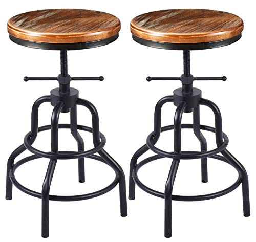 Farmhouse Barstools Vintage Industrial Bar Stool-Rustic Swivel Bar Stool-Round Wood Metal Stool-Kitchen Counter Height Adjustable Pipe Stool… farmhouse barstools