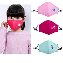 Cute Kids Pink Masks Cotton Mask Children's PM2.5 Guaze Mask Dustproof Face Mask with N95 Filters Respirator for Outdoor Kids Allergy & Pollen Mask / Kids Flu Mask 3Pcs (style 2)