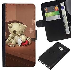 All Phone Most Case / Oferta Especial Cáscara Funda de cuero Monedero Cubierta de proteccion Caso / Wallet Case for Samsung Galaxy S6 EDGE // Teddy Bear Sad Lonely Broken Heart Red