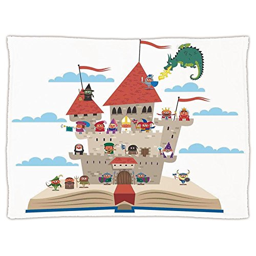 Super Soft Throw Blanket Custom Design Cozy Fleece Blanket,Kids,Fairy Tale Story Book Castle King Queen Princess Dragon Witch Knight Wizard Vikings Theme Print,Perfect for Couch Sofa or - Tale Guest Fairy Book Theme
