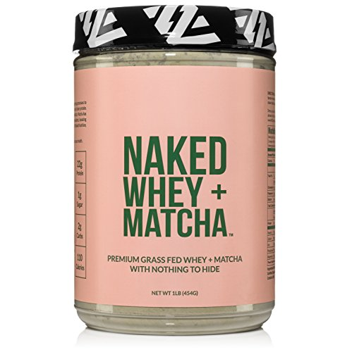 Naked Whey Matcha Protein 1LB – All Natural Grass Fed Whey Protein Powder and Organic Matcha Green Tea – GMO, Soy, and Gluten Free Aid Muscle Growth and Recovery 16 Servings