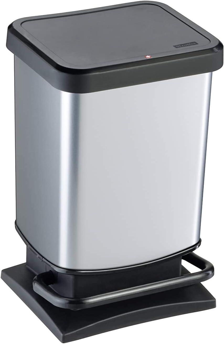 Rotho Paso - Contenedor de basura ermético a olores, con pedal, 20 L, Plateado, 29,3 x 26,6 x 45,7 cm