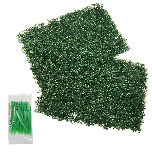 - SHACOS Artificial Boxwood Hedge Plant Grass Mat 2 Pack Greenery Panels Plant Wall Fence Indoor Outdoor (2, Milan)