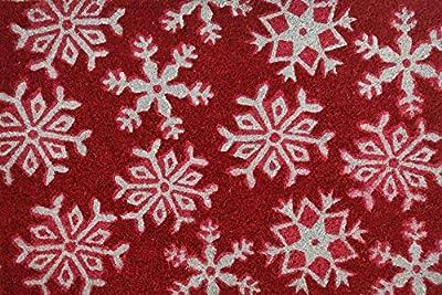 Cranberry Mats Designer Natural Coir Non Slip Doormat for Patio, Front Door, All Weather Exterior Doors (16 X 24 Inch, Cherry Red Snow Flake Maroon)