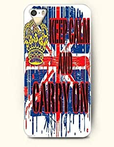 iPhone 5 / 5s Case Keep Calm And Carry On - Flag - Hard Back Plastic Case - OOFIT Authentic