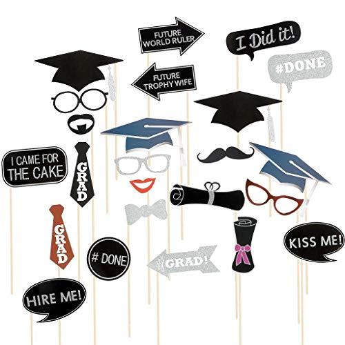 ☀ Dergo ☀ 24PCS Graduation Grad Party Masks Photo Booth Props Mustache Decora