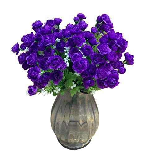 Carnation Rose Centerpiece (Ikevan 2pcs 20 Heads Artificial Carnations Silk Fake Flower Leaf Mother Presents Home Floral Mother's Day Decor (Purple))