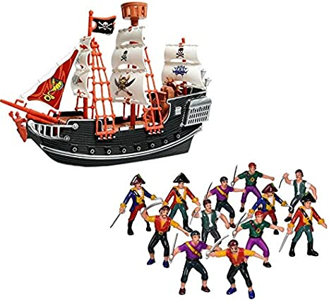 Kids Plastic Model Pirate Ship Playset With 2 Figures Action Toy Boat 3 years