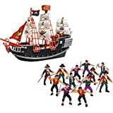 Wish Novelty- 10in Toy Pirate Ship with 12 Plastic Pirate Action Figures-Toy Playset- Perfect Gift for Kids