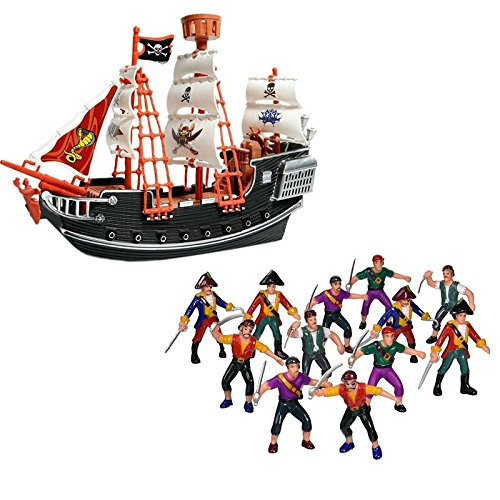 Wish Novelty- 10in Toy Pirate Ship 12 Plastic Pirate Action Figures-Toy Playset Kids (Jake And The Neverland Pirates Action Figures)