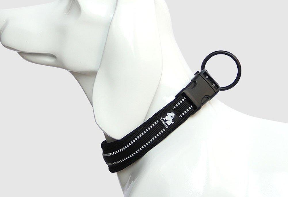 Rantow Cuello de perro fuerte transpirable Collar de perro de seguridad ajustable c/ómodo para perros peque/ños Negro XL 50-55cm grandes medianos