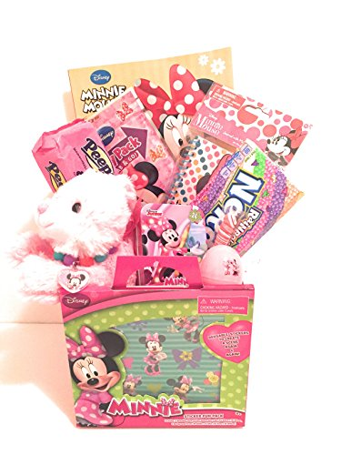 Disney Minnie Mouse Easter Holiday Gift Basket or Birthday Basket - Puzzle, Play&GoPak, Plush pink & white rabbit, Candy,Stickers,Journal with Marouba pen - 12 pieces