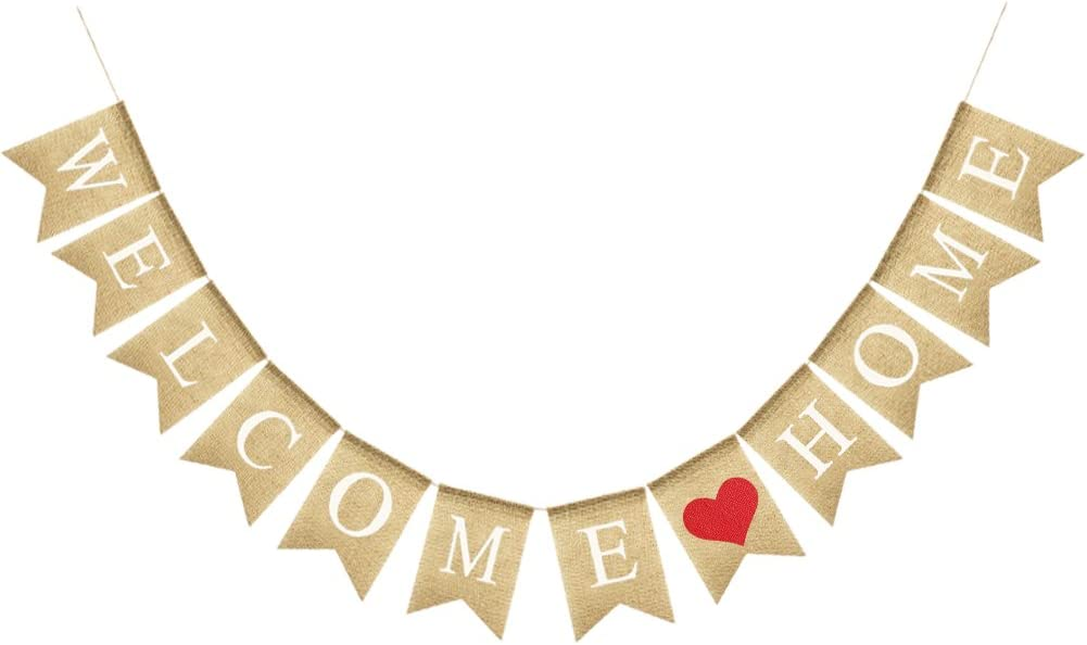 Uniwish Welcome Home Banner Burlap Sign Party Decorations, Vintage Rustic Bunting Garland Family Gathering Photo Booth Props
