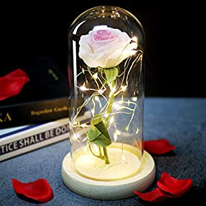 Li-Never Artificial Flower Simulated Rose Home Decoration Ornaments for Girls'Birthday Gifts and New Year Gifts,01 2