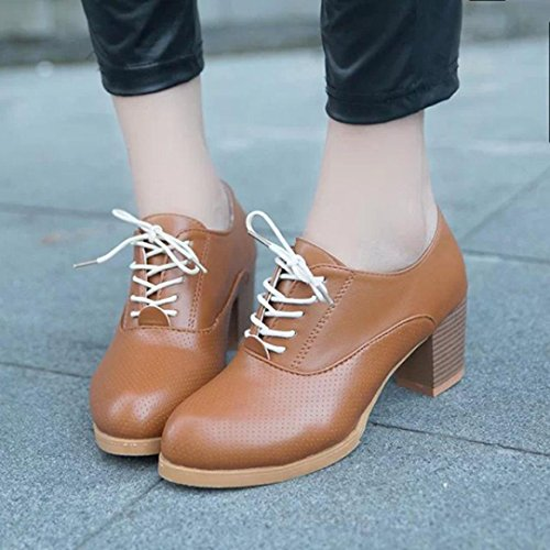 Inkach Womens Lace-up Shoes | Wood High Heels Ankle Boot | Casual Round Toe Martin Shoes Brown dh4JUlYCV