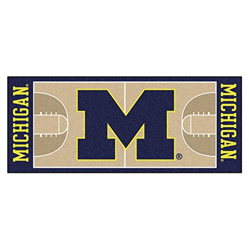 NCAA University of Michigan Wolverines NCAA Basketball Non-Skid Mat Area Rug Runner - Michigan University Basketball Rug