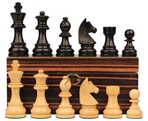 German Chess Set Knight - German Knight Staunton Chess Set Ebonized & Boxwood Pieces with Macassar Ebony Chess Box - 2.75