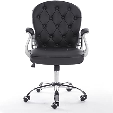 Warmiehomy Desk Chair Swivel Faux Leather Adjustable Height Office Chair Home Furniture Computer Black Amazon Co Uk Kitchen Home