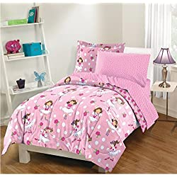 5 Piece Cartoon Ballerina Dancer Design Bed In A Bag Set Twin Size, Featuring Rosebuds Polka Dots Reversible Motif Bedding, Stylish Playful Chic Ballet Theme Bedroom Decor, Pink, White, Multicolor