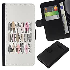EJOY---La carpeta del tirón la caja de cuero de alta calidad de la PU Caso protector / Samsung Galaxy Core Prime / --Mind Cita Vida Positiva