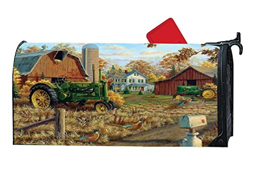 Personalized Mailbox Cover - Rustic Farm Tractors Farmhouse Decorative Magnetic Mailbox Wrap, Fits Standard-Sized Mailboxes, 6.5 x 19 Inches ()